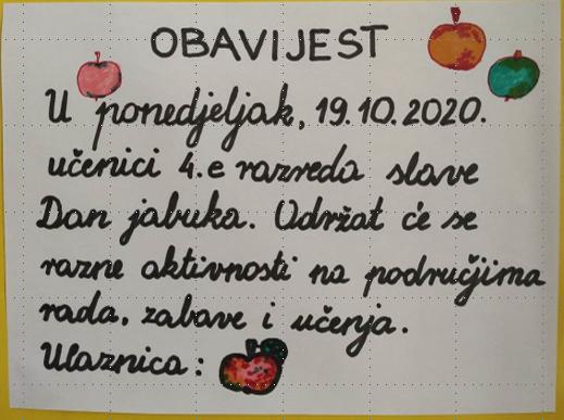 Učenici 4.e obilježili su Dan jabuka